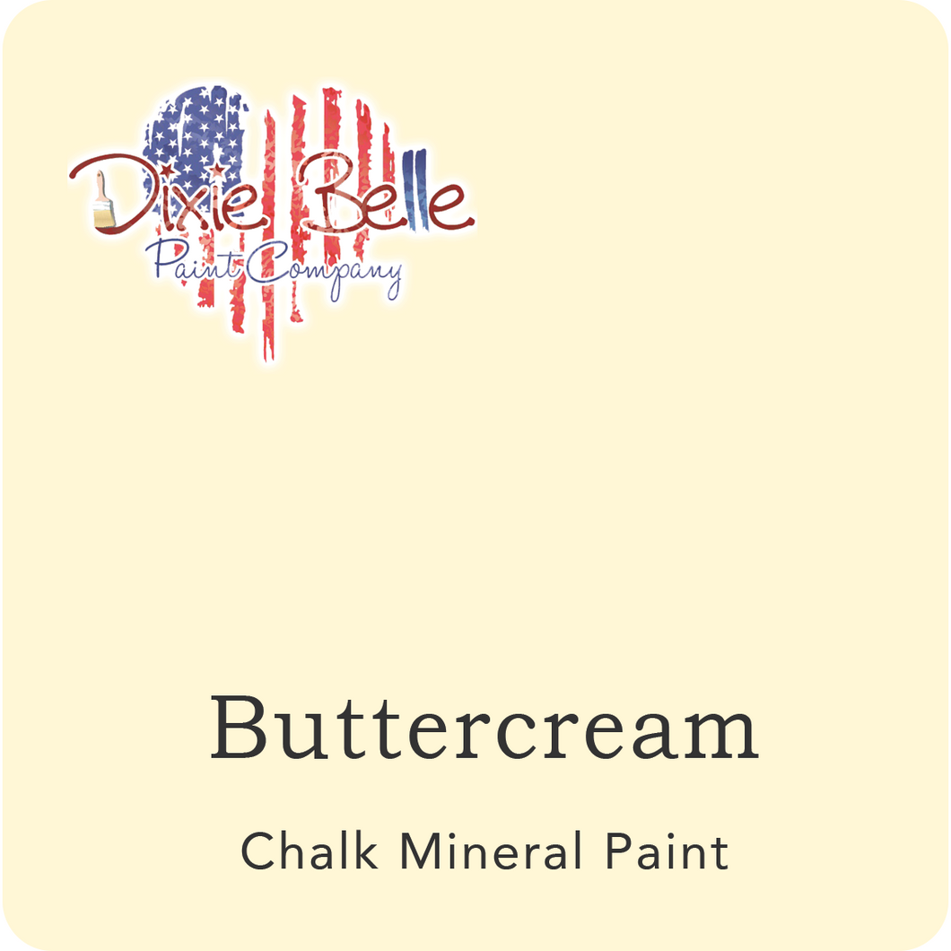 "A light yellow swatch in a square shape with rounded corners. At the bottom, and centered inside of the swatch, are the words: Buttercream. Chalk Mineral Paint. And on the upper left hand corner, inside of the swatch is the word ""Maika Daughters"" and the logo for Dixie Belle Paint Company in the shape of a heart with the colors of the American Flag."