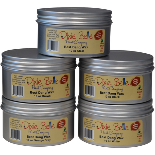 5 tin containers of Dixie Belle's Best Dang Wax. They are all 10 oz wax lidded containers. Clear wax. Brown wax. Black wax. Grunge gray wax. White wax.