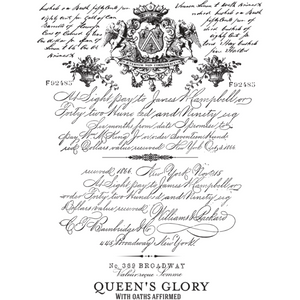 "A complete view of ReDesign with Prima's rub on transfer for furniture ""Parisian Letter"". A handwritten letter with a coat of arms on top and at the bottom it says: Queen's Glory with Oath's affirmed."