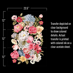 "The Wondrous Floral II furniture decal of blooming white, yellow, blue, pink and red flowers with dimensions. 23.5"" wide by 12""x3 tall. Text that says: Transfer depicted on clear background to show colored details; actual transfer is printed with colored ink on a clear acetate sheet."