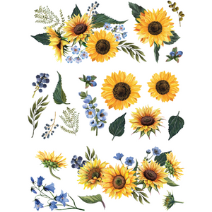 Sunflower Fields furniture decal by ReDesign with Prima. A design of 12 sunflower heads, extra greens and delicate blue blossoms.