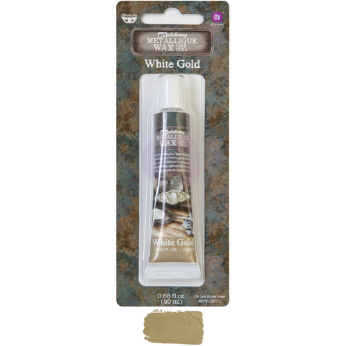A packaged tube of metallique wax in white gold by Finnabair and Prima Marketing. Below it is a sample of the color white gold.