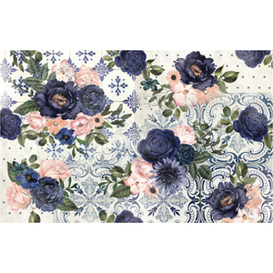 Clusters of blue and pink flowers on different blue patterned tiles and wallpaper.