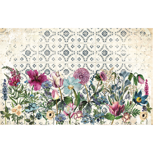 A variety of flowers shown against a tiled blue beige background. A mix of wild flowers with some tulips. In violet, pinks, yellow and blues.