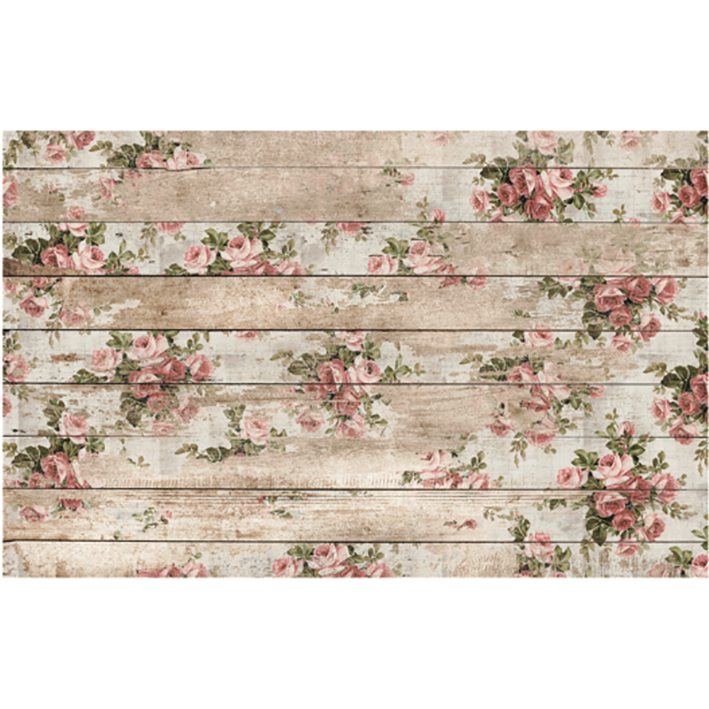 Small clusters of light pink/coral roses on a weathered boarded background. Very shabby chic.