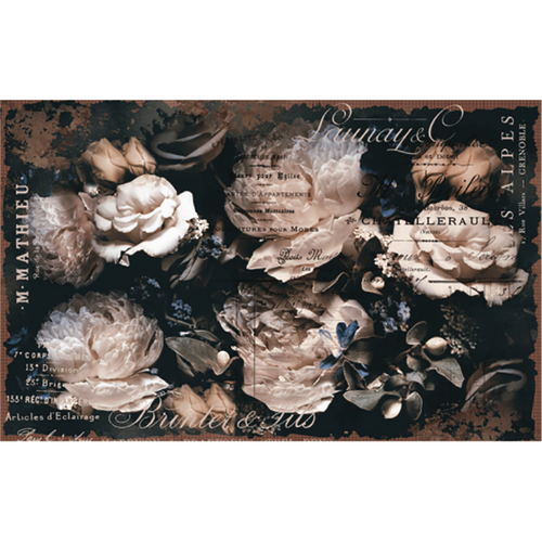 Large clusters of large light pink and white roses in a dark background with type over it. Very haunting.