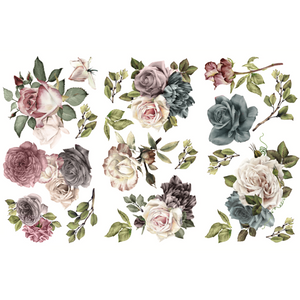 Clusters of mostly roses in deep colors. Gray blues. Gray violets. Creamy pinks. Vintage.