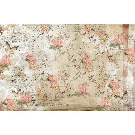 A sheet of decoupage paper by ReDesign with Prima has a worn vintage look and design with small pink roses on vines throughout. Some butterflies and other handwritten and swirly designs throughout.