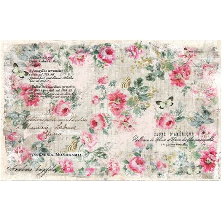 This decoupage paper by ReDesign with Prima is a washed out vintage design with colorful pink roses throughout. Some butterflies and other handwritten and typed text throughout.