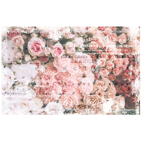 Decoupage paper full of bunches of small roses  grouped in different colors. Pale pink. Light pink. Peach. Red. And across it all are words in cursive and typed, in both grays and white.