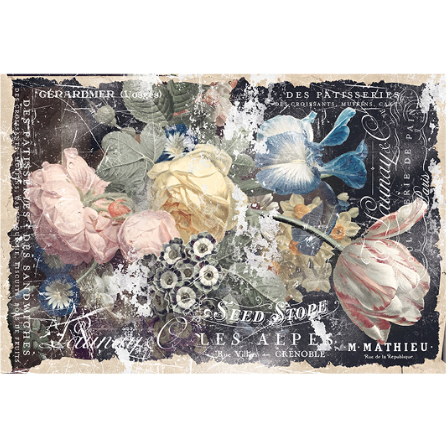 A sheet of decoupage paper by ReDesign with Prima has large pastel colored flowers against a dark background. The edges are ripped against parchment and there is white script across the entire image.