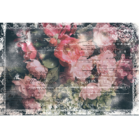 This sheet of decoupage paper by ReDesign with Prima has gorgeous light and dark pink stems of flowers laying on a dark table with words in white written across the top giving an impression of thoughts.