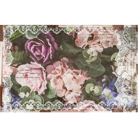 This decoupage paper by ReDesign with Prima has large pastel colored roses and flowers against a dark green background of large leaves. The edges of the paper is adorned with white lace. Some black handwriting throughout.