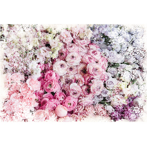 This decoupage paper by ReDesign with Prima has the most bunches of peony-like flowers grouped together tightly. Pink flowers. Lavender flowers. White flowers. Dark pink flowers. Blue flowers.
