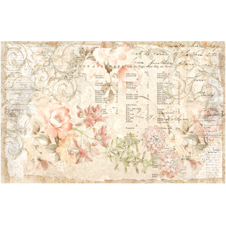This decoupage paper by ReDesign with Prima are soft painted flowers in pastels over parchment paper with a layer os swirls and writing on the background, both typed and handwritten.