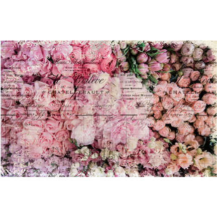 This decoupage paper by ReDesign with Prima has gorgeous pink and peach colored flowers bunched together to give the designed space a a full field of romantic flowers.