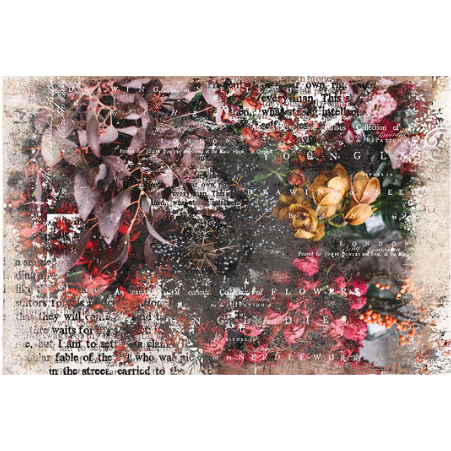 This decoupage paper by ReDesign with Prima has flowers and seaweed strewn throughout. There is a mix of black and white script across the entire image.