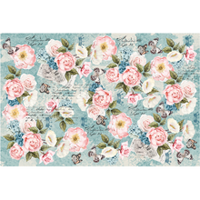 Load image into Gallery viewer, This decoupage paper by ReDesign with Prima has the most precious small pink roses in assorted places throughout the design. The entire background is a teal blue with small butterflies fluttering around and black script intertwined throughout.