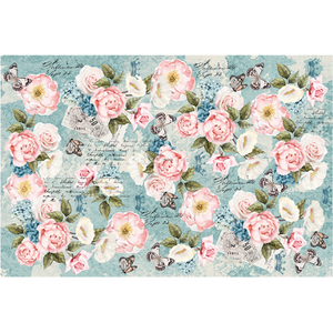 This decoupage paper by ReDesign with Prima has the most precious small pink roses in assorted places throughout the design. The entire background is a teal blue with small butterflies fluttering around and black script intertwined throughout.