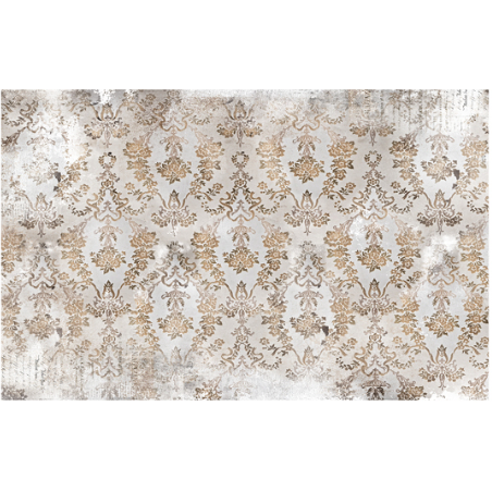This decoupage paper by ReDesign with Prima has a golden brown damask design over a beige background, together with a weathered look throughout.