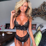 Ellolace Floral Black Lace Underwear Set Sexy Lingerie Women Fashion Bow Lace Up Decoration Pink Lenceria Bralette Bra Set 2018