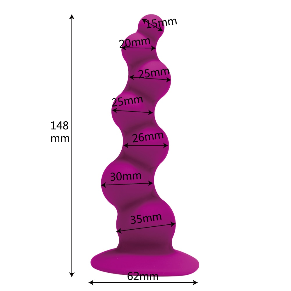 IKOKY Dildo Anal Beads Silicone Large Butt Plug with Suction Cup Adult Products Sex Shop Anal Sex Toys for Women Men Gay