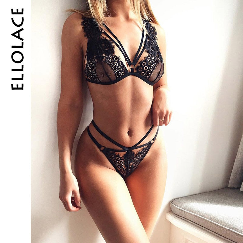 Ellolace lingerie bandage sexy outfit woman erotic new top black lace transparent bra sissy apparel intim bra set underwear seks