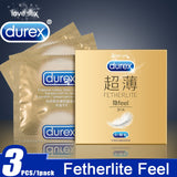 Durex Original 3PCS/Set Ultra Thin Cock Condom Intimate Goods Sex Products Natural Rubber Latex Penis Sleeve Sex For Men