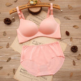 Bra Set for Women One-piece Seamless Bra Wire Free Gathered Adjustment Girl Bra Underwear Set Sexy Push up Set Bras and Panties