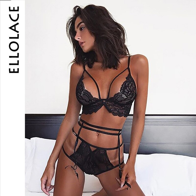 Ellolace Sexy Lace Lingerie Set Bandage Lace Babydoll Open Bra Set Transparent G-String Underwear Bra & Brief Sets RBLS4834Q