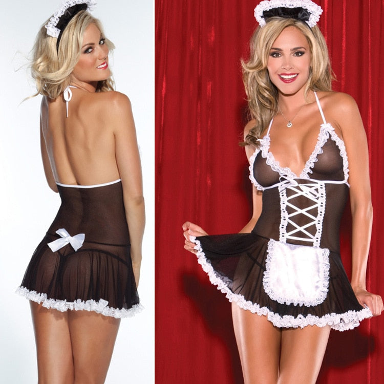Maid Uniform Costumes Role Play 2019 Women Sexy Lingerie Hot Sexy Underwear Lovely Female White Lace Erotic Costume