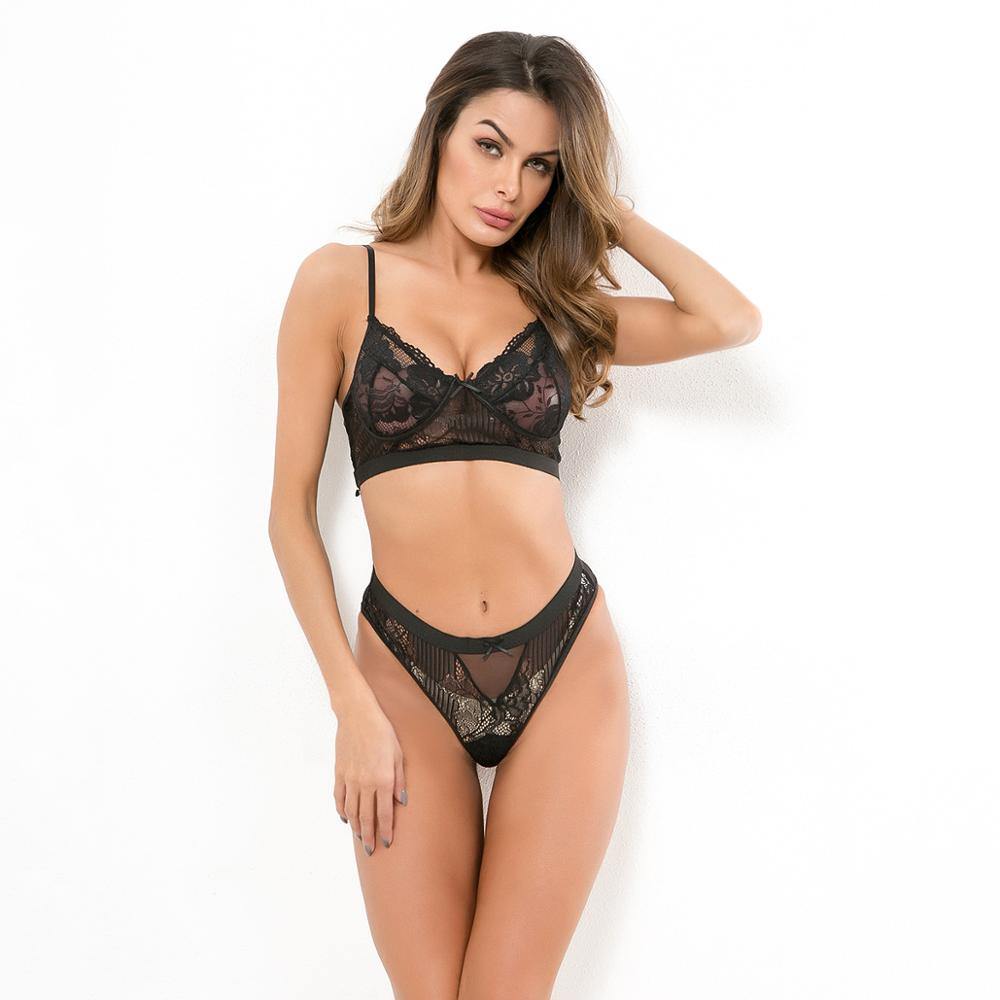 Ellolace Sexy lace underwear women set 2019 spring summer bra and panty set transparent lingerie for female one piece fashion