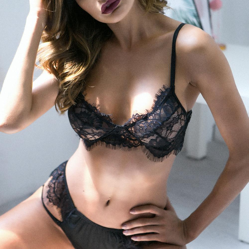 Ellolace Sexy Lingerie women transparent bra and panty set lace hot underwear adjusted straps lingerie female 2019 fashion sale