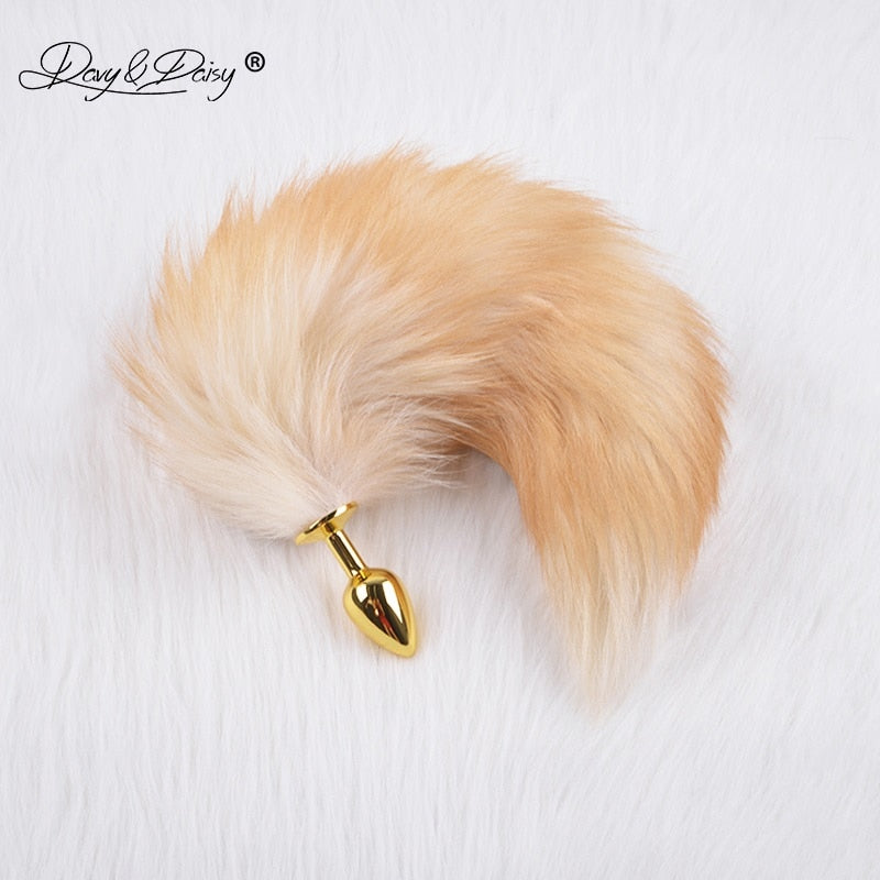Silvery Golden Metal Anal Plug Real Fox Tail Butt Plug Stainless Steel Women Adult Sex Accessories for Couples AC105