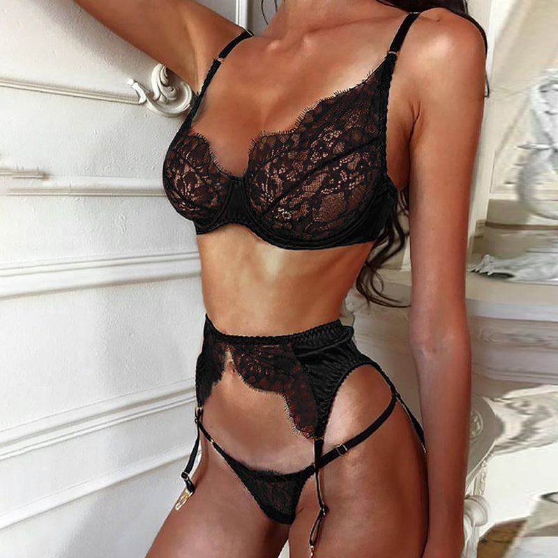 Ellolace Sexy Lace Underwear Set Women Transparent Lingerie Set 3 Piece Set Low Cup Lenceria Femenina Strap Women Sexy Bra Sets