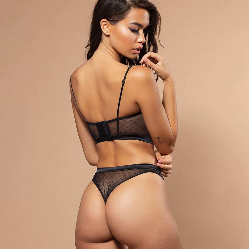 Ellolace Sexy Lace Underwear Lingerie Set Women Bra Brief Sets Mesh Transparent Fashion 2019 Black White Push Up Lingerie Sets