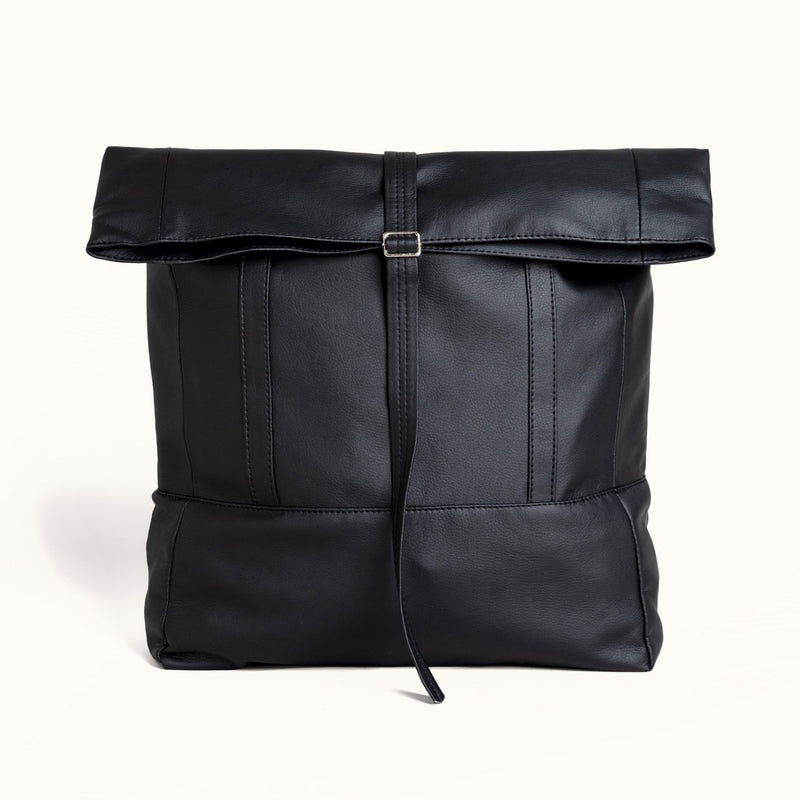 Black Travel Bag, Faux Leather Rolltop Backpack For Women by Lee Coren