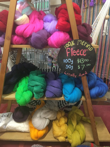 Hand dyed wool fleece