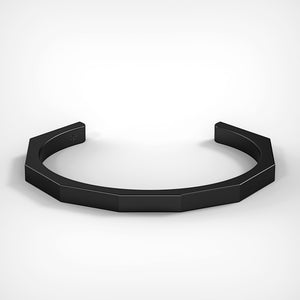 Octagon Cuff in Matte Black Stainless Steel by Fine Relic