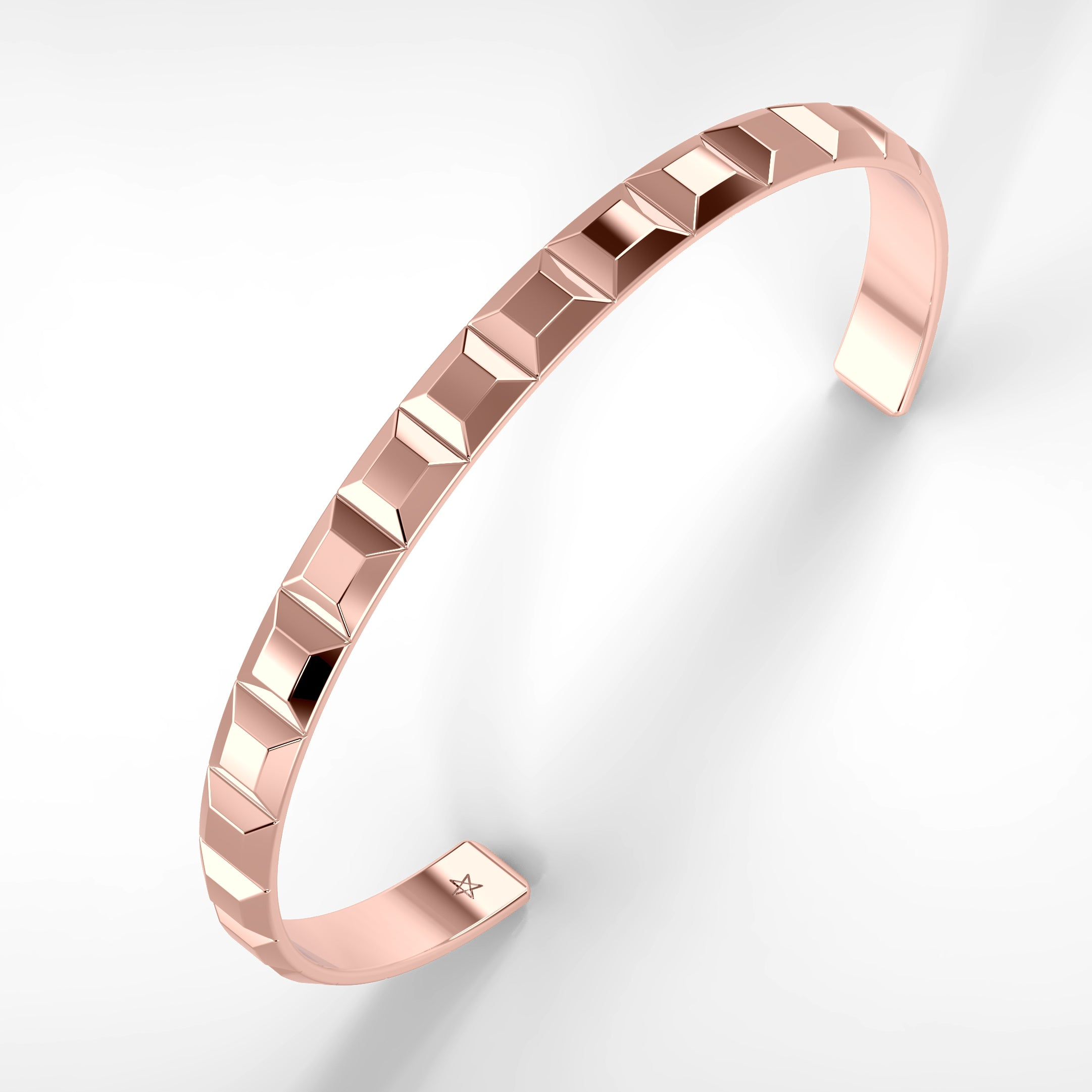 Large Rose Gold Pyramid Bracelet by Fine Relic