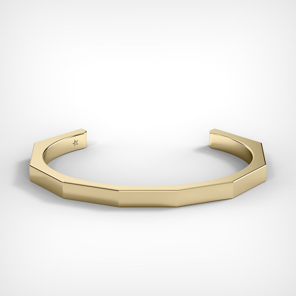 Gold Octagon Cuff Bracelet by Fine Relic