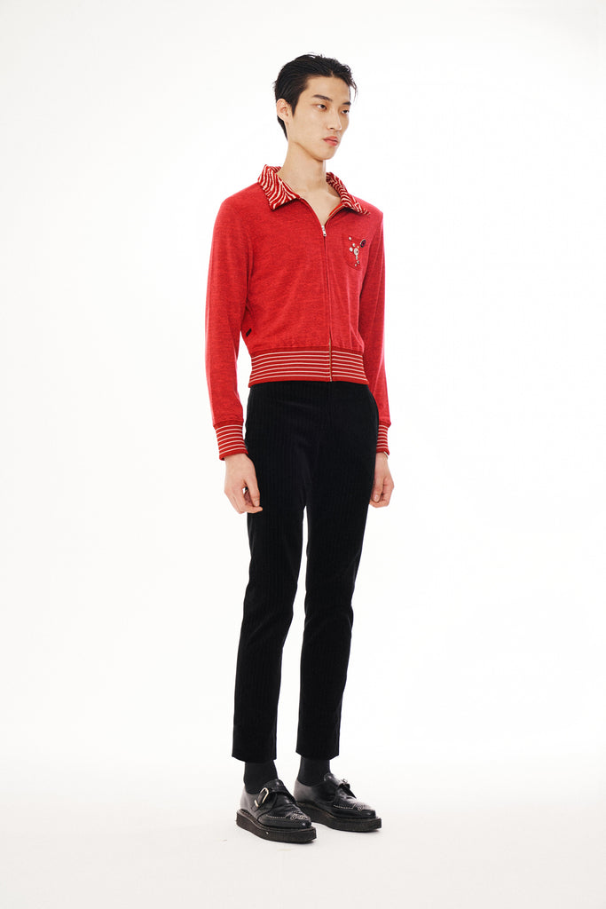 Zip-Up Cardigan Red