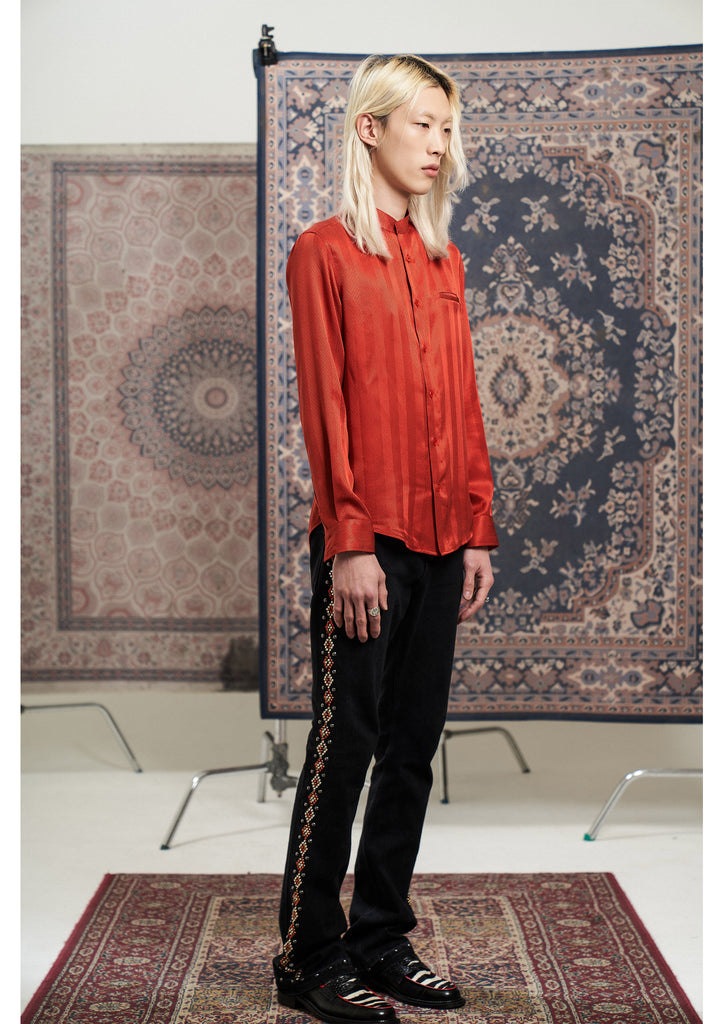 Herringbone Silk shirts Red