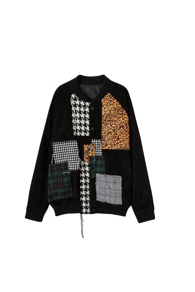 Patchwork Leather Bomber Jacket