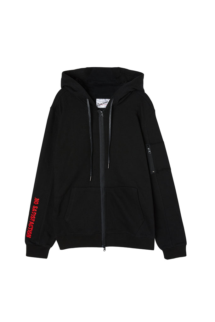 Embroidered Hooded Jacket Black