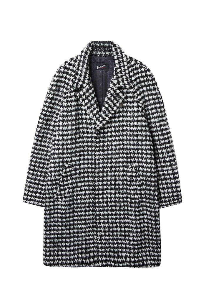 Houndstooth Check Wool Coat