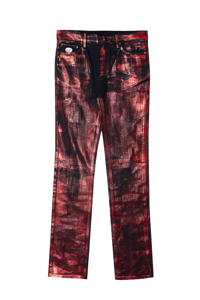 Red Metallic Coated Straight Jean