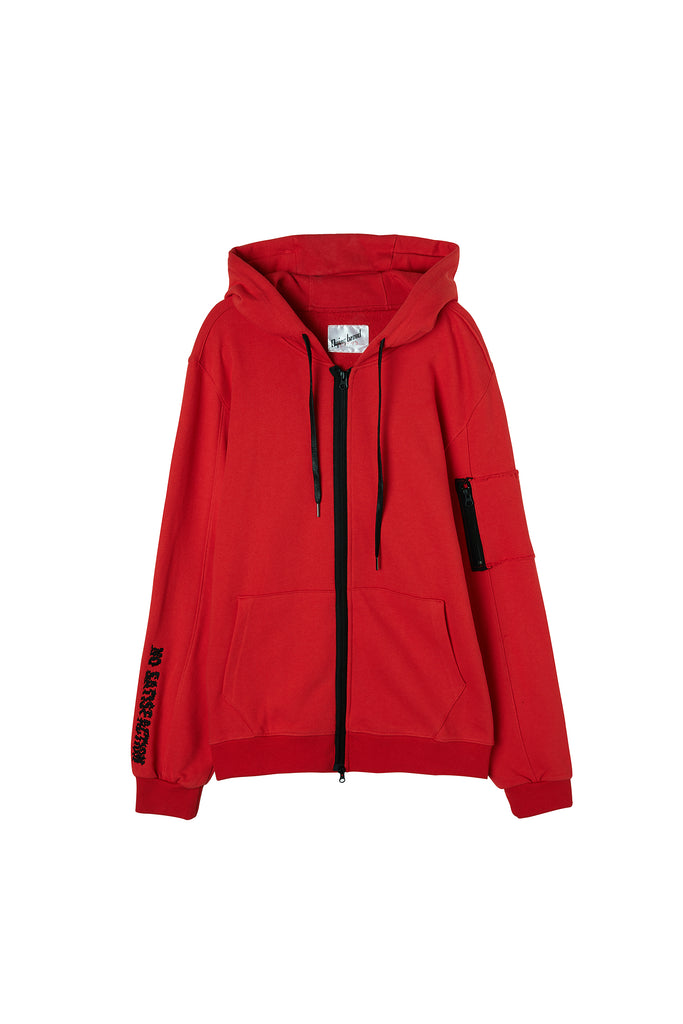 Embroidered Hooded Jacket Red