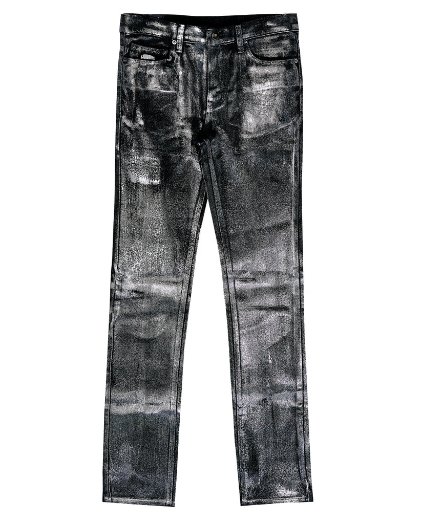 Black Metallic Coated Straight Jean