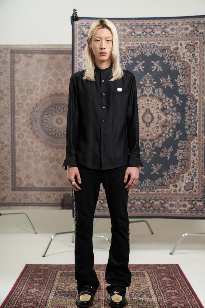 Herringbone Silk shirts Black